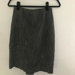Express Check Tweed Knit Pencil Skirt-Pleated Slit